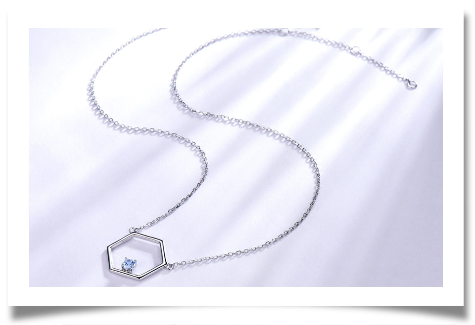 925 Sterling Silver Natural Blue Topaz Necklaces (4)
