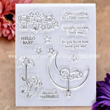 HELLO BABY Showers HAPPINESS Rubber Stamp Clear Stamp