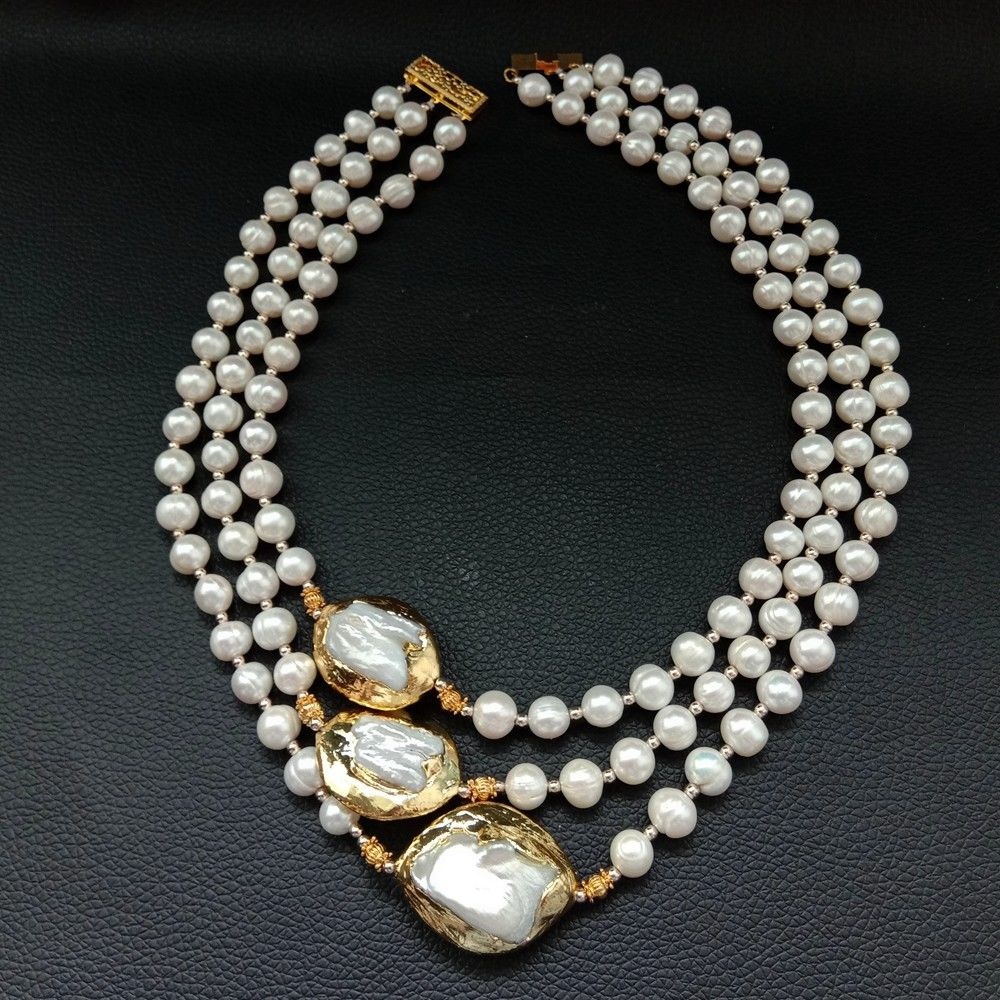 3 Strands 18'' 21'' White Pearl Plated Keshi Pearl Necklace