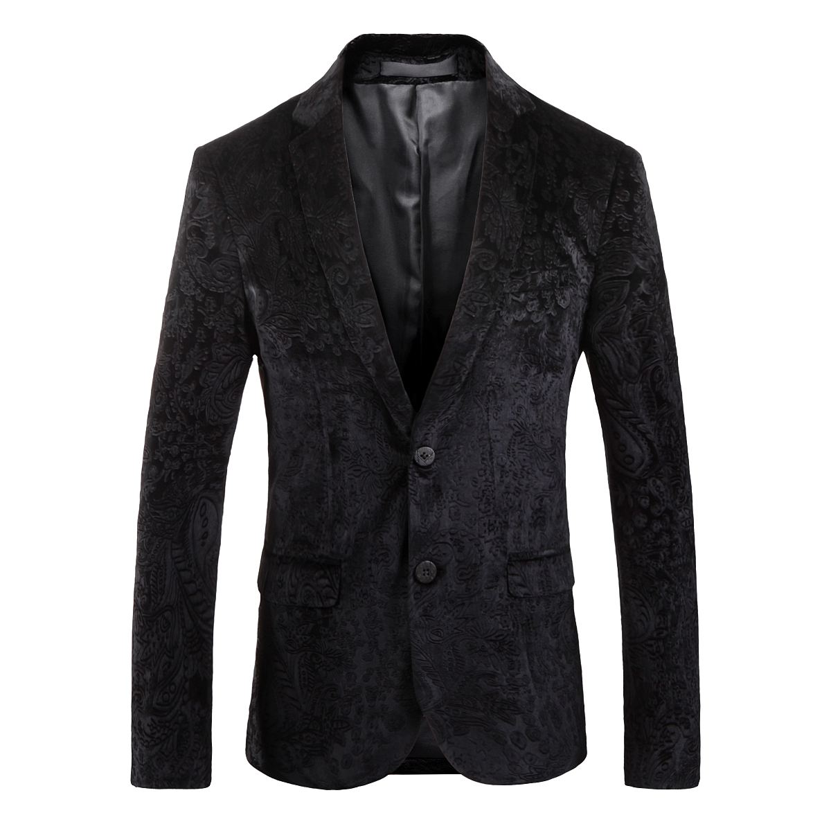 PAULKONTE 2019 New Men Pattern Suit Dress Jacket Black Business Family Dinner High Quality Self Cultivation Temperament Clothing