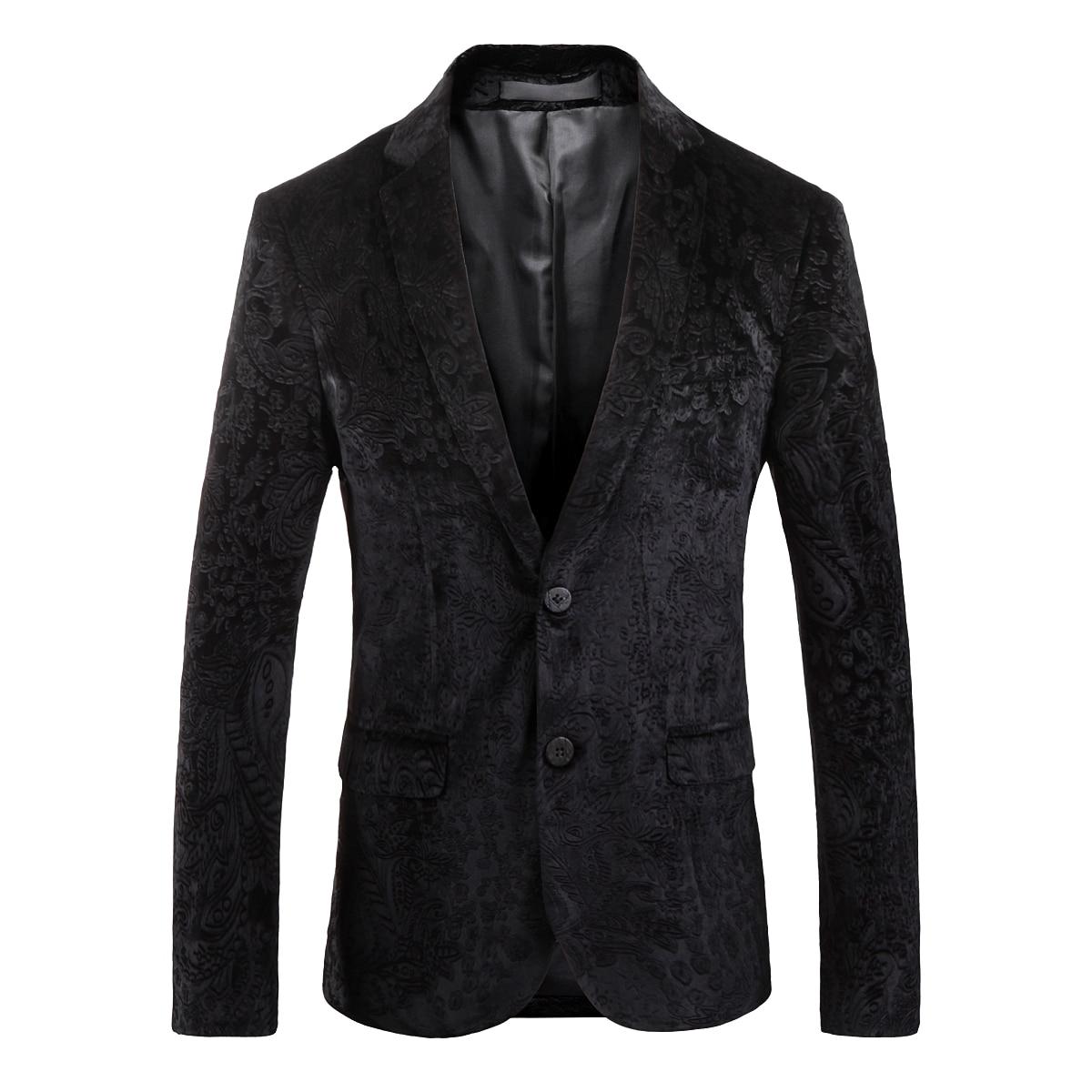 PAULKONTE 2019 New Men Pattern Suit Dress Jacket Black Business Family Dinner High Quality Self Cultivation Temperament Clothing