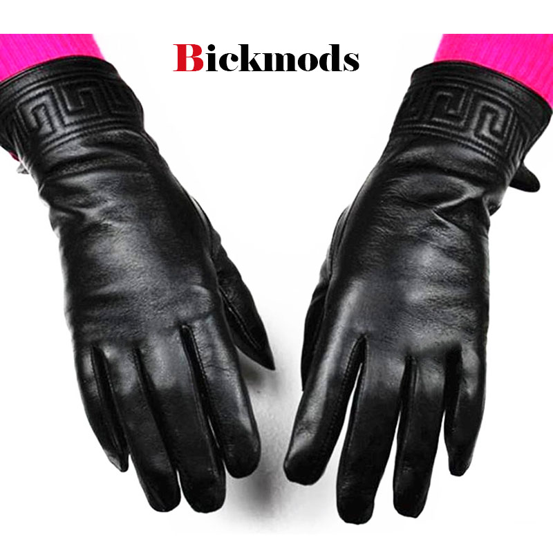 2018 new women's black leather gloves em