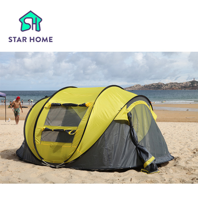 Star home Large throw tent!outdoor 3-4persons automatic speed open throwing pop up  waterproof beach camping tent 2 second open