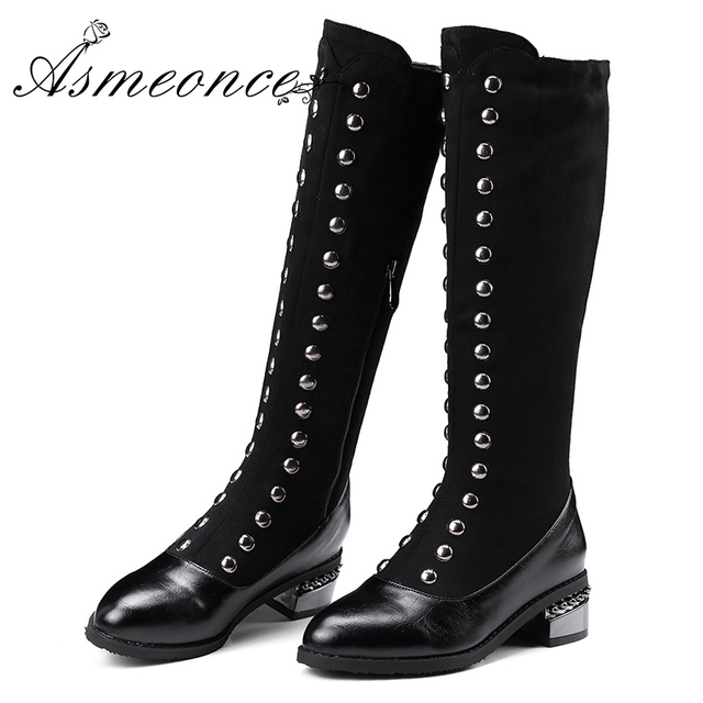 a910409aab22c Women Knee High Boots Ladies Leather Rivets Gothic Shoes Long Martin Boots  Winter Warm Sexy Model Custom Black Plus Size