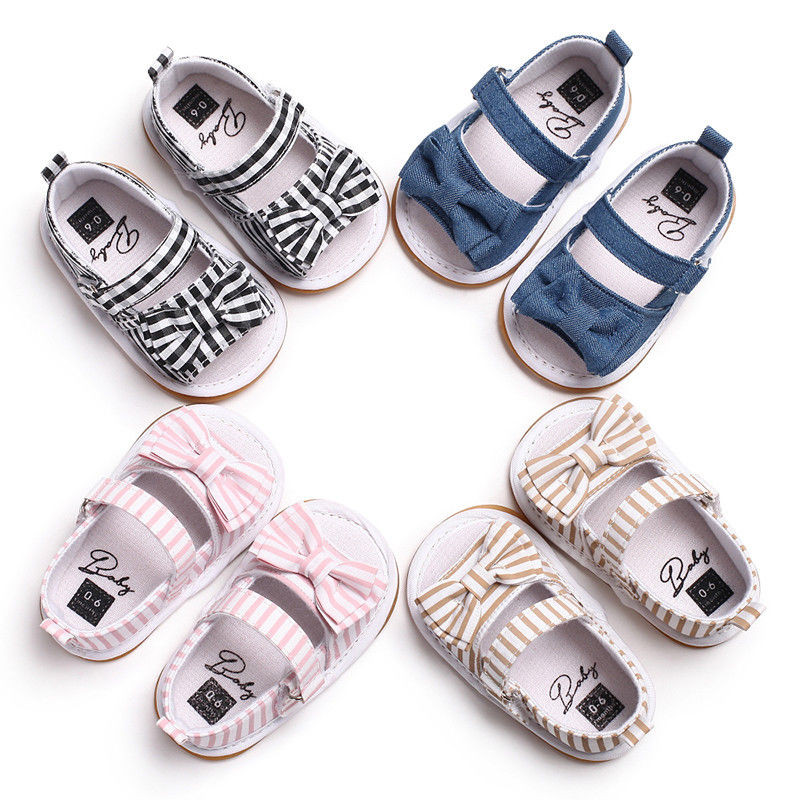 0-18M Baby Infant Kids Boys Girls Soft Sole Crib Bowknot Plaid Striped Summer Baby Sandals Shoes