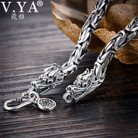 V.YA Real 925 Sterling Silver Dragon Bracelet for Men Male Vintage Heavy Bangles Bracelets Homme Silver Jewelry
