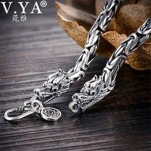 V.YA gerçek 925 ayar gümüş ejderha bilezik erkekler için erkek Vintage ağır bilezik bilezik Homme gümüş takı
