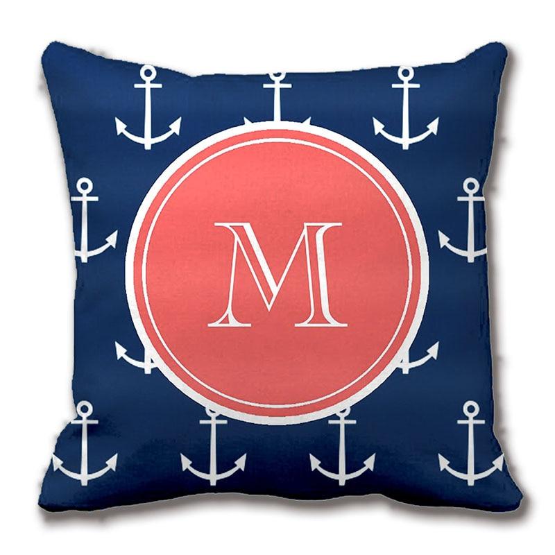 ΞNavy Blue White Anchors Pattern Coral Monogram Decorative Throw Gorgeous Monogrammed Decorative Throw Pillows