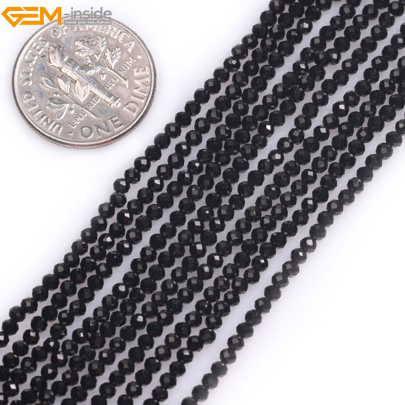 Gem-inside Natural AAA Grade Faceted Black Spinel Spacer Stone Beads For Jewelry Making Strand 15 DIY Jewellery Christmas GiftGem-inside Natural AAA Grade Faceted Black Spinel Spacer Stone Beads For Jewelry Making Strand 15 DIY Jewellery Christmas Gift