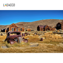 Laeacco Wilderness Vintage Car Log Cabin Hey Photography Backgrounds Customized Photographic Backdrops For Photo Studio