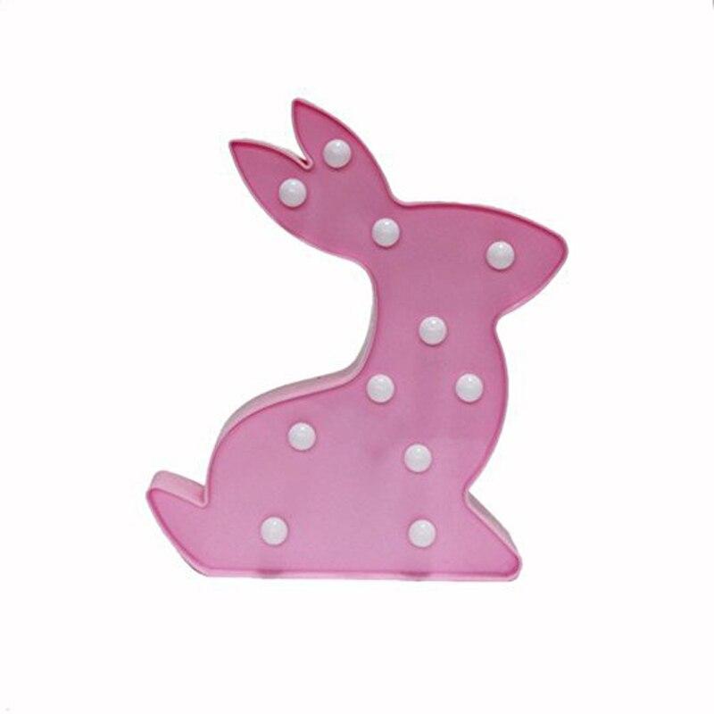 New typs cute Rabbit Night Light LED Children baby slepp Bedside Lamp Battery powered 3D Decor wall light for kids gift toys8057