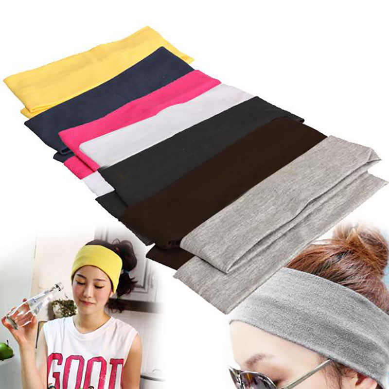 Women Solid Color Sweat Cotton Elastic Headband Wide Stretch Elastic Hair Band Fashion Women Headdress Hair Accessories