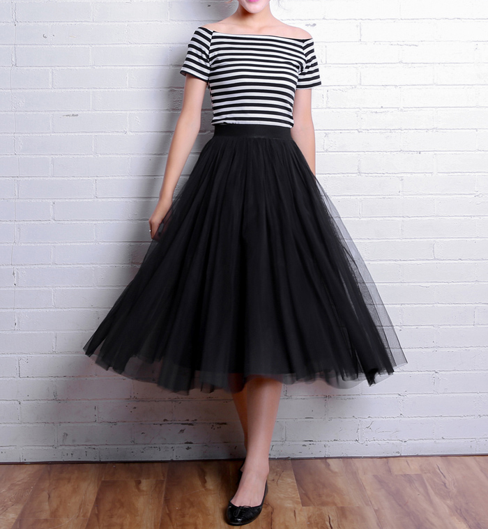 OHRYIYIE 19 Autumn Winter Vintage Skirts Womens Elastic High Waist Tulle Mesh Skirt Long Pleated Tutu Skirt Female Jupe Longue 6