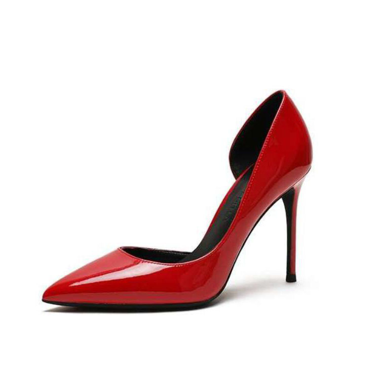 2019 spring summer autumn red patent leather real genuine leather pointed toe women lady hot sale