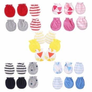 3Pairs Fashion Baby Anti Scratching rękawice ochrona dla noworodków bawełniane rękawiczki do twarzy