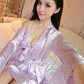 WLK Das Mulheres Conjuntos de Roupas para o Verão 2em1 Moda Sexy Com Decote Em V Sleepwear Alcinhas Pijamas das Mulheres Com Casaco Estilo Borboleta