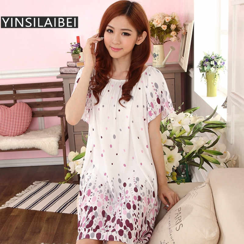 fd8a5fa403 2017 Summer Short Sleeve Night Dress Plus Size Satin Nightgown for Women , Floral  Print Sleepwear