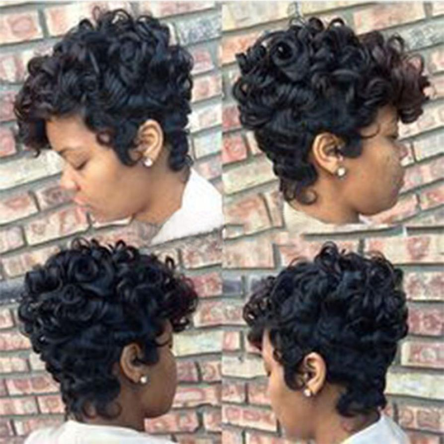 Women Short Black Brown FrontCurly Hairstyle Synthetic Hair Wigs For Black Women Levert Dropship Y622