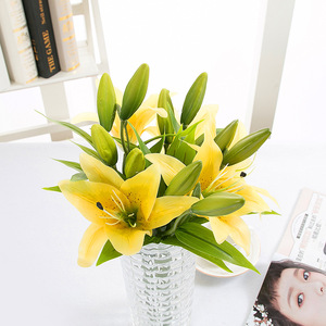 Image 5 - DIY 3 หัว Real TOUCH ดอกไม้ประดิษฐ์ Lily Flores งานแต่งงานเจ้าสาวปลอมดอกไม้ช่อดอกไม้พืชสีขาว Lily Home PARTY Decor สำหรับจอแสดงผล