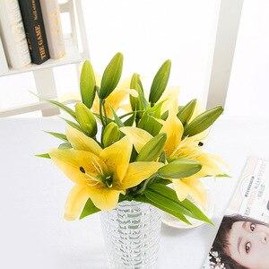Image 5 - Diy 3 cabeças de toque real artificial lírio flores casamento nupcial falso flores buquê plantas lírio branco decoração festa em casa para exibição