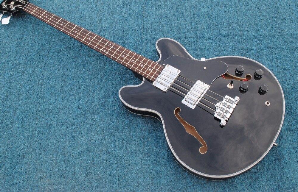Factory custom jazz es4 string electric bass guitar silver hardware bass