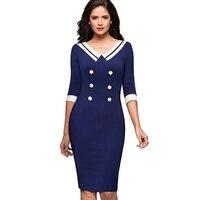 Women Elegant Contrast Vintage Striped Button Pinup Retro Rockabilly Wear To Work Bodycon Sheath Sailor Dress