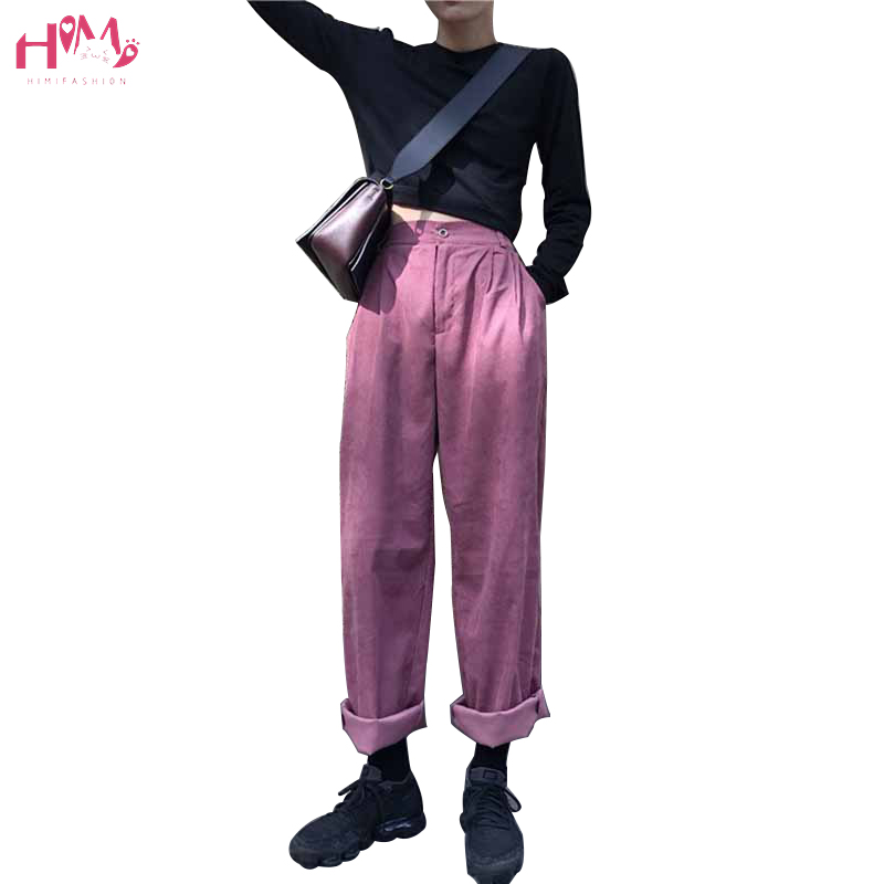 Vintage Women Corduroy   Pants   Autumn Winter Korean Style High Waist   Wide     Leg     Pants   New Fashions Casual Elastic Waist Loose   Pants