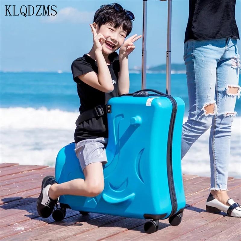 KLQDZMS Cute Cartoon Children Rolling Luggage Spinner Suitcase Wheels Multifunction Trolley Kids Travel Bag For Kids