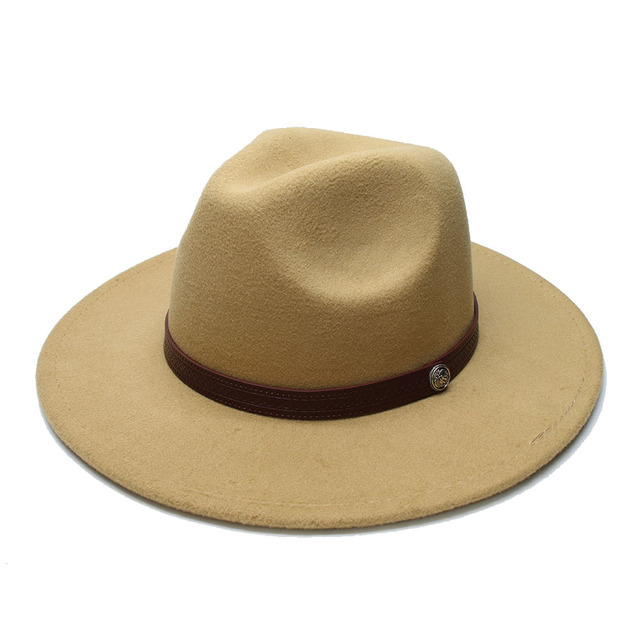 823754b3aea93 LUCKYLIANJI Retro Kid Child Vintage 100% Wool Wide Brim Cap Fedora Panama  Jazz Bowler Solid Hat Leather Band (54cm Adjusted)