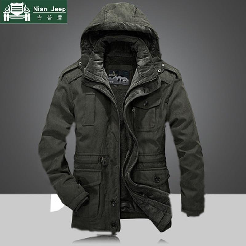 2018 Men's Winter Thicken Warm Hooded Military Brand Army Green Jacket Coat Men Cotton afs jeep khaki fleece thick jacket coats