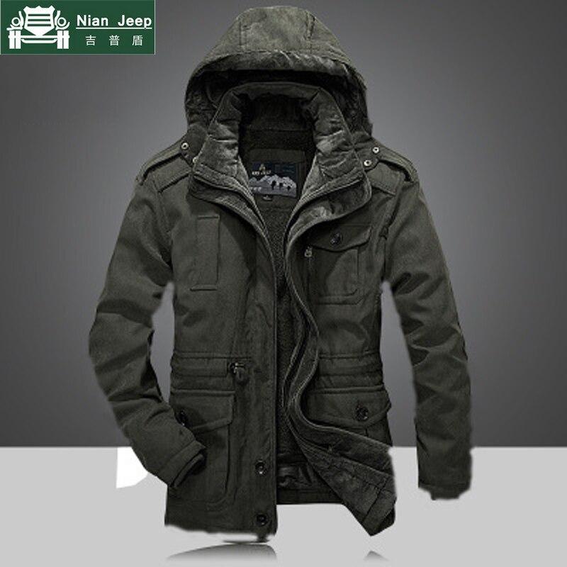 2018 남자의 겨울 두꺼운 따뜻한 후드 군사 브랜드 육군 녹색 자 켓 코트 남자 코 튼 afs 지프 카키 양 털 두꺼운 자 켓 코트-에서재킷부터 남성 의류 의  그룹 1