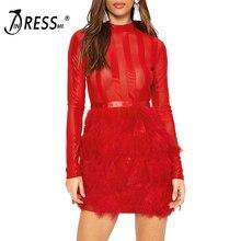 INDRESSME Elegant Solid Feathers Autumn Women Bandage Party Dress Sexy Mesh O Neck Mini Full Sleeve Dress Vestidos 2017 New