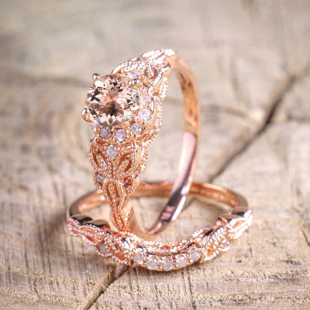 Gorgeous แหวนผู้หญิง 1 คู่แหวน/ชุด Rose Gold Filled หมั้นแหวนสไตล์เครื่องประดับ Anillos เครื่องประดับ Anel