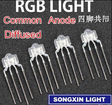 20 Stücke Led 4-Pins Super Helle Gemeinsame Kathode Diffus Rgb Lampe F5 5Mm I yv