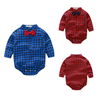 European Style Kids Baby Infant Long Sleeve Cotton Plaid Tops Clothes Autumn Spring Boys Girls Bodysuit