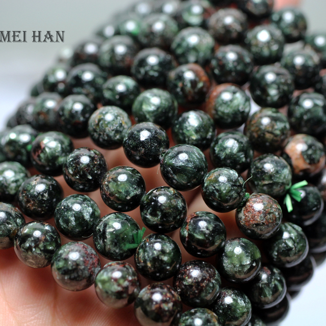 Free Shipping cheap (42beads/set/36g/2 bracelet) natural russian seraphinite 9mm+ 0.3 smooth round loose beads stone wholesale