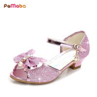 PaMaBa Girls Princess Sandals Kids Party High Heel Shoes Age 3 14T PU Crystal Pearls Flower Girls Wedding Pageant Prom Sandals