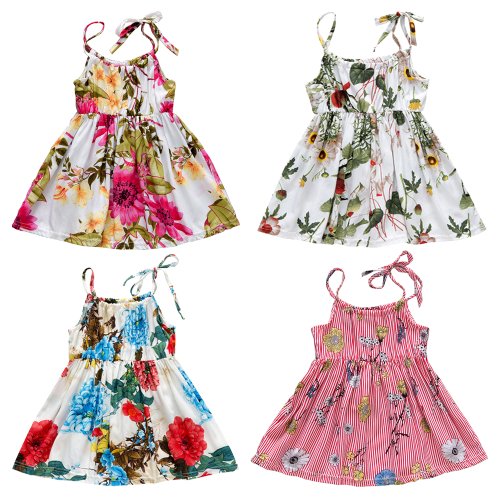Summer New Baby Clothes Bebe Baby Girl Floral Striped Printed Ruched Party Dresses Cool Kid Costume Causal Loose Cute Dress