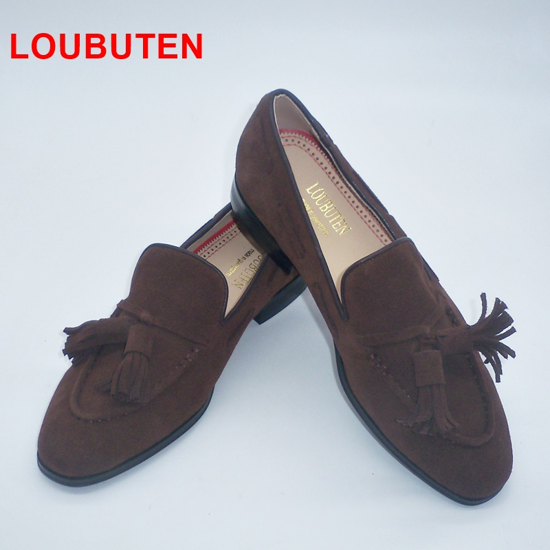 LOUBUTEN New Fashion Coffee Suede Men Loafers Luxury Handmade Tassel Slip On Shoes Men Casual Shoes Big Size Dress Loafers Shoes