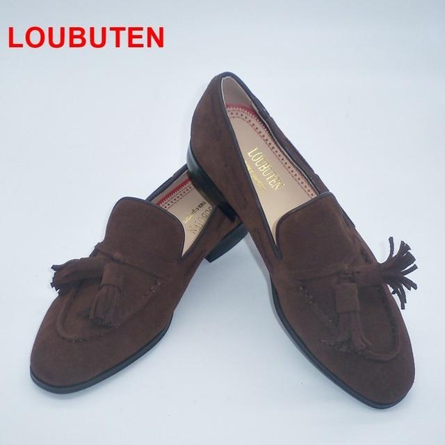 8f168dafd4341 LOUBUTEN New Fashion Coffee Suede Men Loafers Luxury Handmade Tassel Slip  On Shoes Men Casual Shoes
