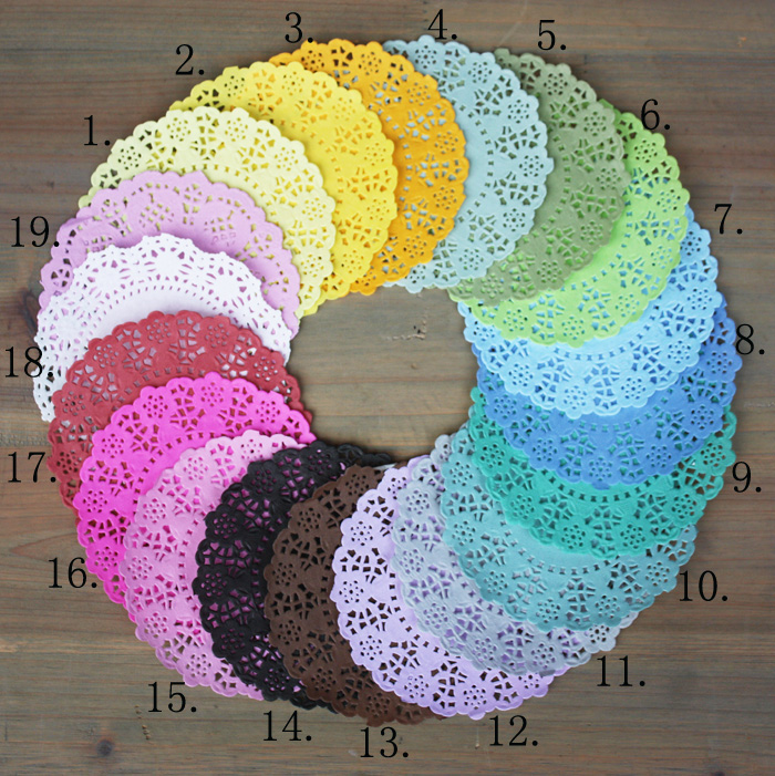 140pcs/Lot 4.5''DIY Lace Decorative Paper Doilies Colorful ...