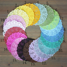 "140pcs/Lot  4.5""DIY Lace Decorative Paper Doilies Colorful Flower Style Hollowed Place mat scrapbook accessories free shipping"
