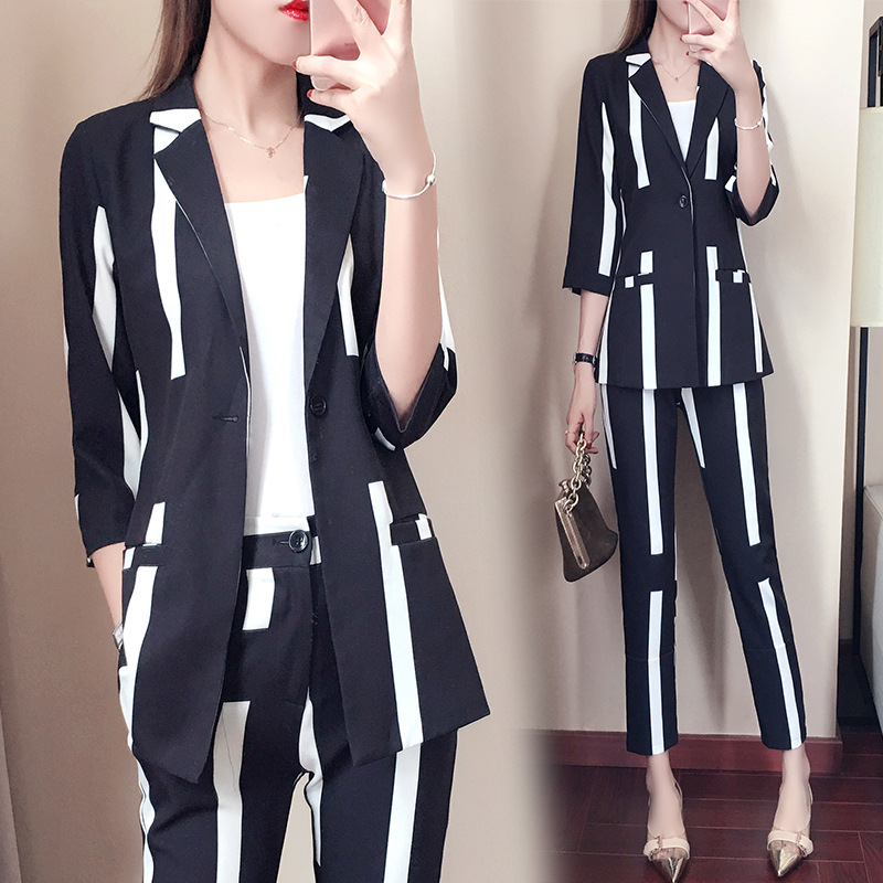 2 piece outfits for women suit female spring and autumn striped suit 2018 new temperament fashion OL suit Price $60.72