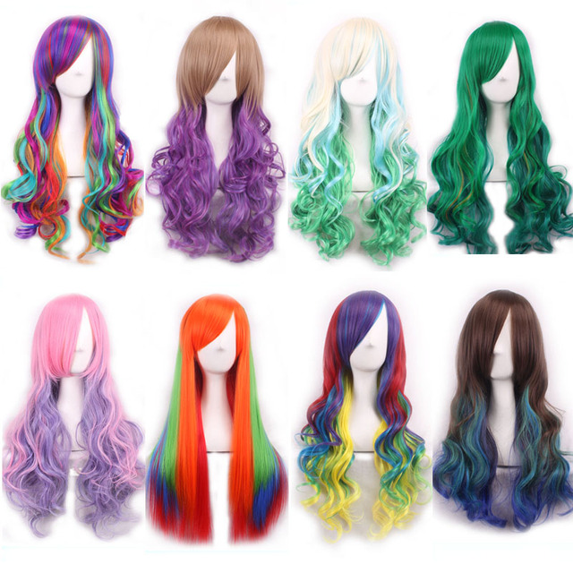 10Styles Ombre Rainbow Dash Wig Cosplay Lolita  Long Cury Wavy Synthetic Fake Hair Woman Wig Pelucas Sinteticas