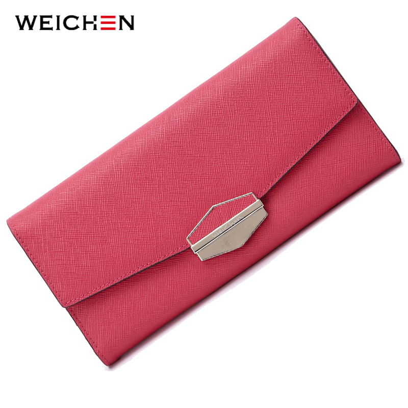 WEICHEN Lock Envelope Cow Genuine Leather Clutch Wallets For Women Long Hasp Female Wallet Purse Bags Card Holders For Lady weichen brand female pu leather purse hasp fashion long women wallet lady clutch bag generous card holders pr07f619 1