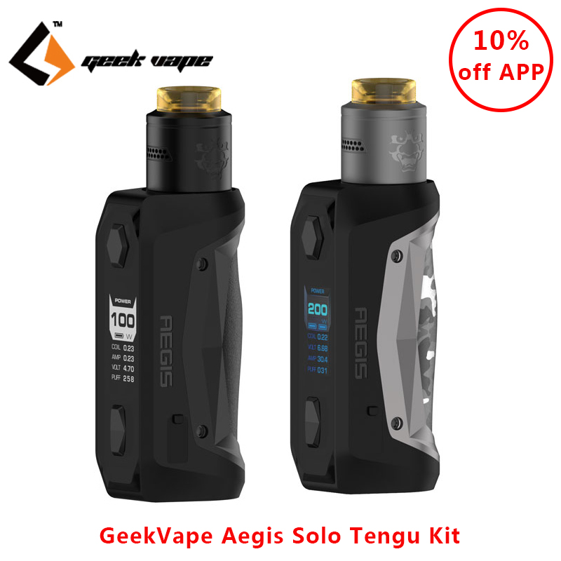 Original GeekVape Aegis Solo Tengu Kit Electronic Cigarette 100W Box Mod Vape With Tengu RDA E Cigs Vape Kit Vs Aegis Legend Kit