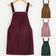 Women Corduroy Dress 2018 Autumn Vintage Sleeveless College Wind Midi Vest Overall z389