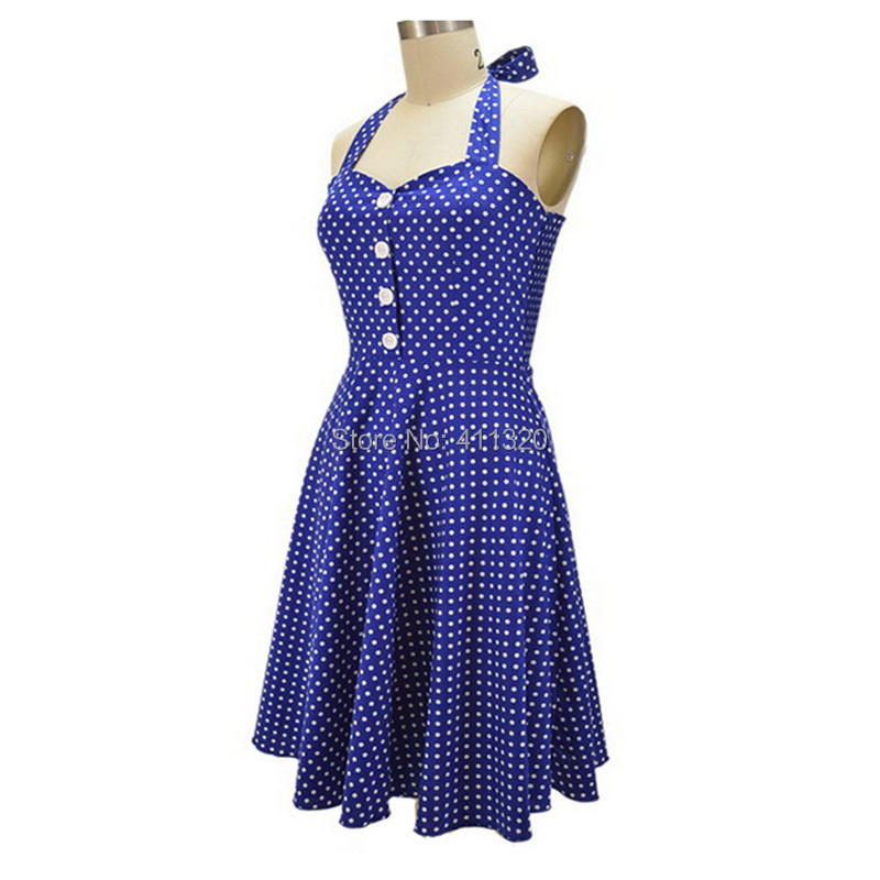 V215 2015 Womens Halter Backless Polka Dots 1940s 50s 60s Vintage Retro Style Rockabilly Pin up Swing Summer Casual Party Dresses (5).jpg