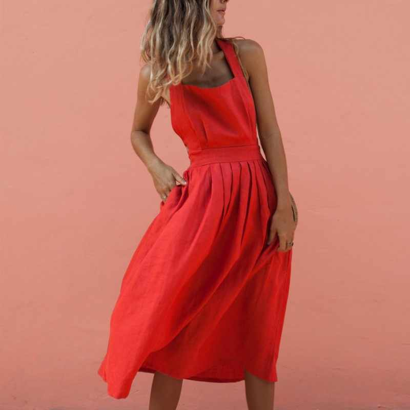 Sexy Backless Dress 2019 New Spring Summer Women Solid Sling Slim Button High Waist Dress Fashion Casual Mid Long Vestido Female
