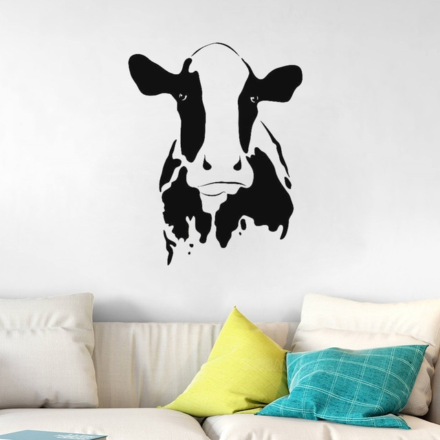 cute cow wall stickers for living room home decoration vinyl pattern